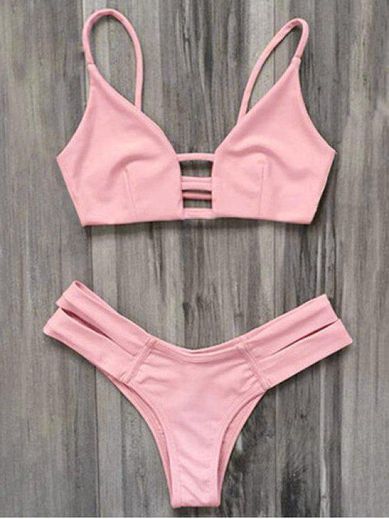 Maillot de Bain Bikini Bandeau Style Cage - Rose Clair S