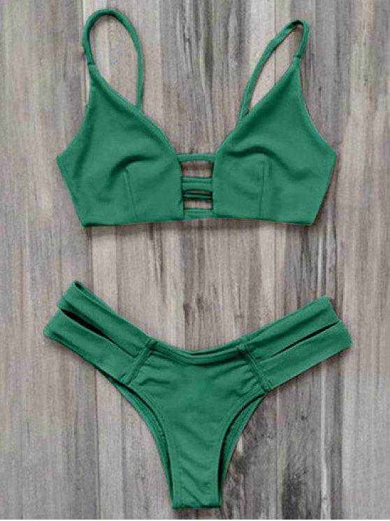 قفص العصابات بيكيني ملابس السباحة - أخضر S