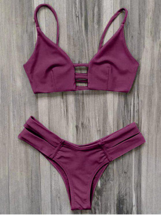 قفص العصابات بيكيني ملابس السباحة - عنابي اللون L