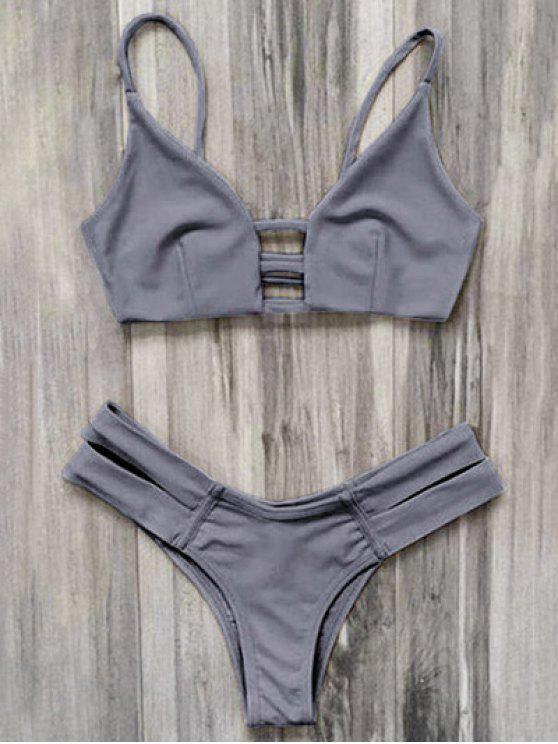 قفص العصابات بيكيني ملابس السباحة - رمادي XL