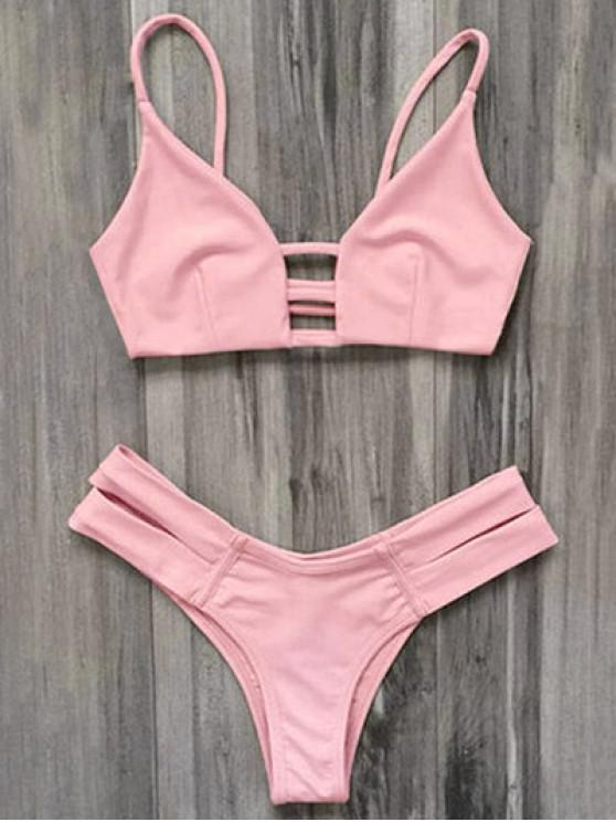 buy Caged Bandage Bikini Swimwear - SHALLOW PINK M