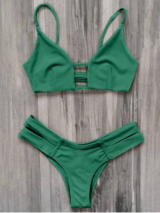 women Caged Bandage Bikini Swimwear - GREEN XL