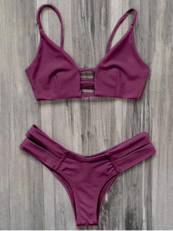 Bandage Bikini Badeanzug - Burgund M