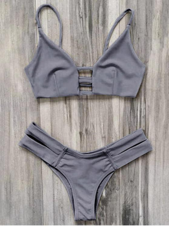 fashion Caged Bandage Bikini Swimwear - GRAY M