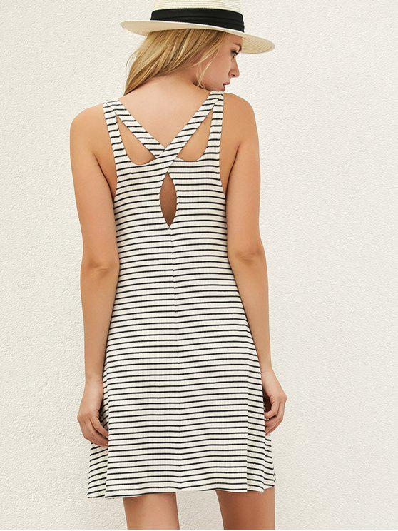 buy Striped Cut Out Casual T-Shirt Dress - WHITE AND BLACK S