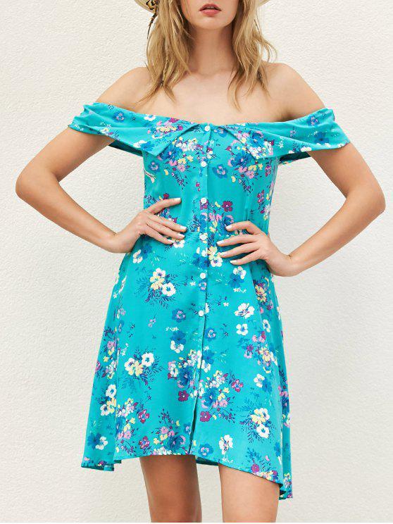 trendy Floral Off The Shoulder Boho Dress - BLUE GREEN S