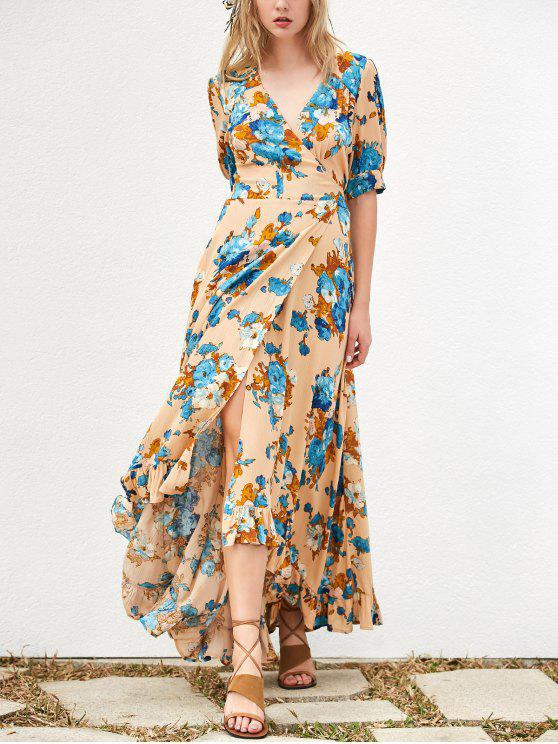 الفستان الطويل لا متناظر مع طبع الزهور - كاكي S