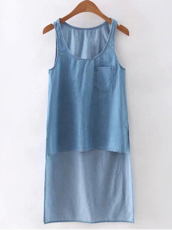 Alto Bajo bolsillo del chaleco del dril de algodón - Azul Claro L