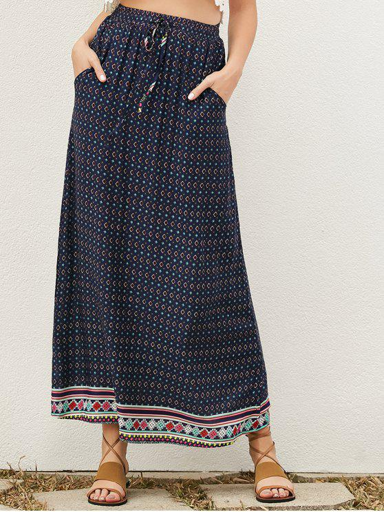 chic Drawstring Geometric A-Line Skirt - PURPLISH BLUE S