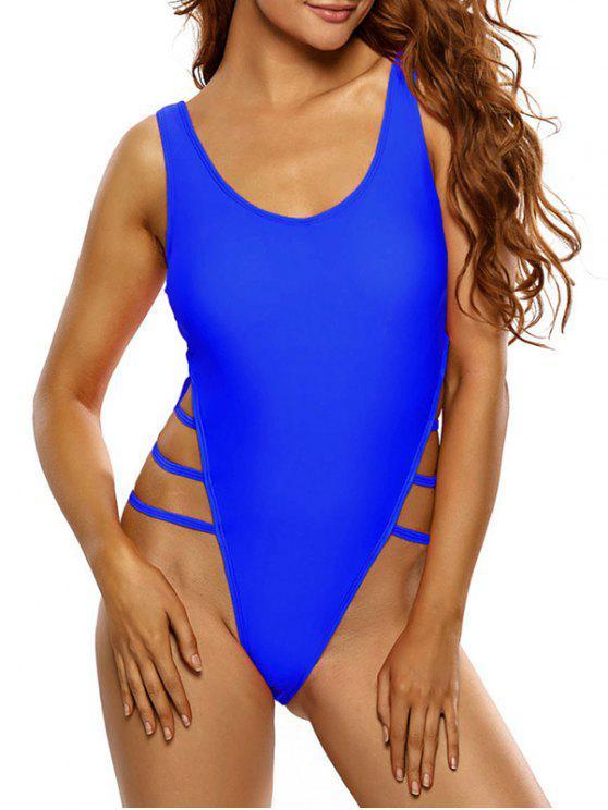 الجانب الشريط ثونغ ملابس السباحة - الياقوت الأزرق S