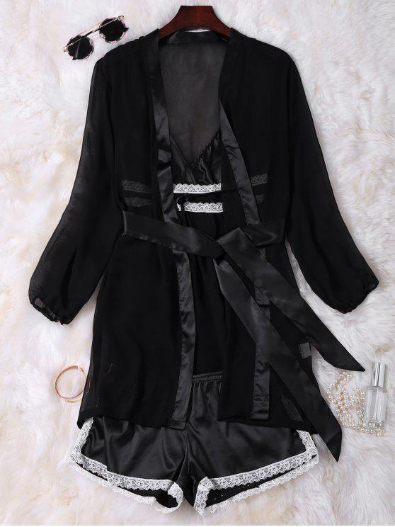 Cami de la muñeca del satén con el kimono con Pantalones cortos - Negro Única Talla
