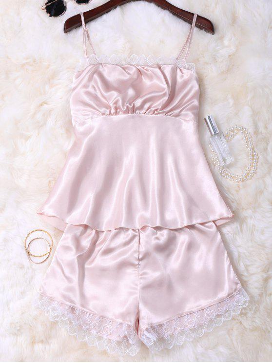 Faux seta Cami top e shorts Sleepwear - Champagne M