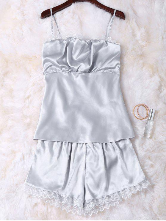 buy Faux Silk Cami Top and Shorts Sleepwear - SILVER M