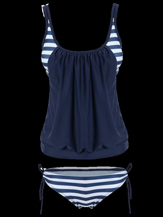 shop Striped Blouson Tankini Swimsuit - NAVY BLUE XL