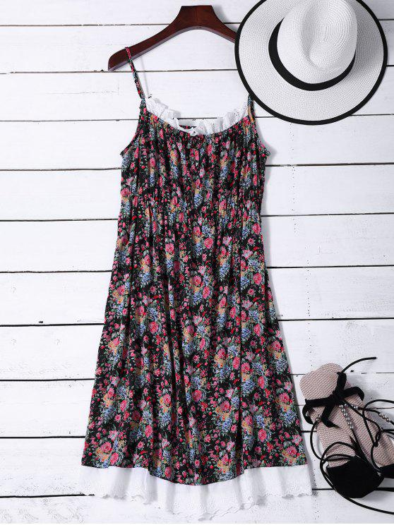 outfit Flower Lace Panel Night Dress - BLACK ONE SIZE