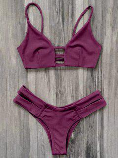 Caged Bandage Bikini Swimwear - Burgundy S