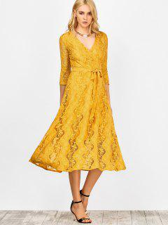 Lace Belted Maxi Surplice Dress - Yellow S