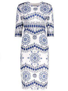Floral Printed Knee Length Sheath Dress - White Xl