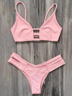 Traje De Baño Bikini Vendaje Enjaulado - Rosado Claro L