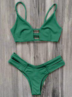 Caged Bandage Bikini Swimwear - Green L
