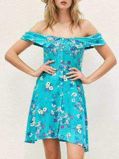 Floral Off The Shoulder Boho Dress - Blue Green S