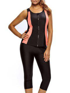 Tankini Top And Swim Pants Diving Wetsuit - Black Xl