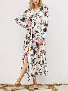 Floral Longline Cover Up - White S