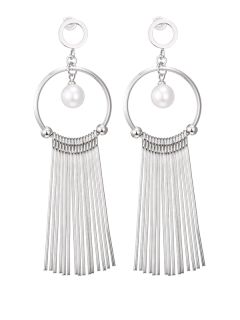 Faux Pearl Fringed Circle Earrings - Silver