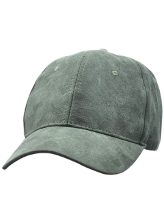Faux Suede Lucky Baseball Hat - Blackish Green