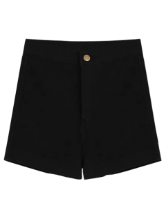 High Waisted Denim Shorts - Black L