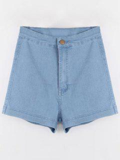 High Waisted Denim Shorts - Light Blue S