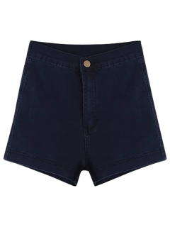 High Waisted Denim Shorts - Purplish Blue M