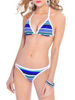 Striped Halterneck Bikini Set - Blue L