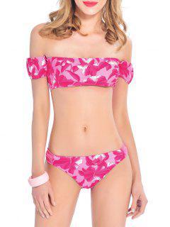 Floral Off The Shoulder Bikini Set - Rose Red Xl