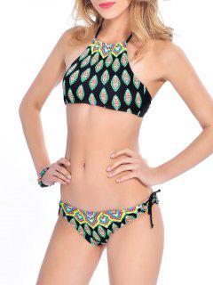 Assortiment De Bikini Imprimé De Feuilles à Col Haut Et Ficelles - Noir Xl