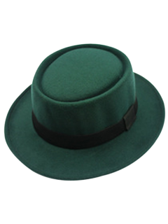 Flat Top Felt Jazz Hat - Blackish Green