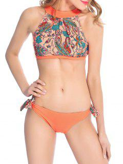 Paisley De Cuello Alto Con Tiras Del Bikini - Naranja Rosa Xl