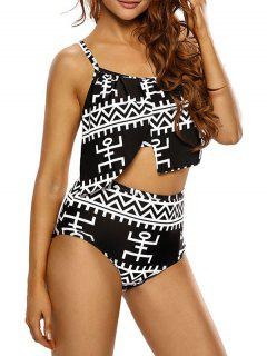 Asymmetric Layers High Waisted Bikini - Black 2xl