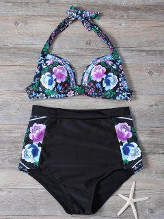Impresión Floral Del Bikini De Talle Alto - Negro L