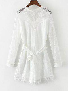 Choker Lace Sheer Romper With Tie Belt - White L
