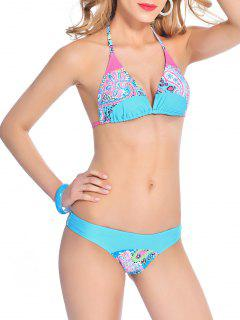 Back Tie Halter Paisley Bikini - Lake Blue Xl