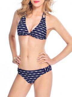 Assortiment De Bikini Imprimé Avec Cordons D'attache à L'arrière - Bleu Violet Xl