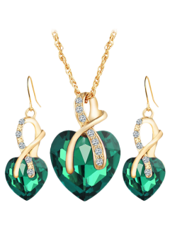 Faux Diamond Crystal Rhinestone Heart Wedding Jewelry Set - Green