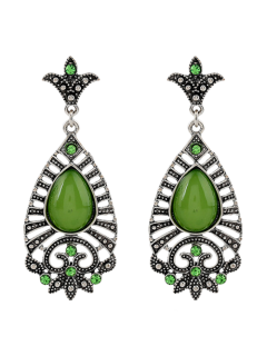 Fake Gem Teardrop Filigree Earrings - Silver