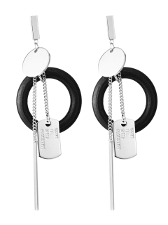 Bar Circle Earrings - Silver