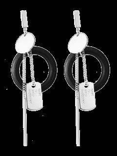 Boucles D'oreilles Agrémentées De Cercles Et De Barres - Argent