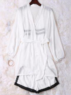 Cami De La Muñeca Del Satén Con El Kimono Con Pantalones Cortos - Blanco