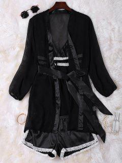 Satin Cami Babydoll With Kimono With Shorts - Black