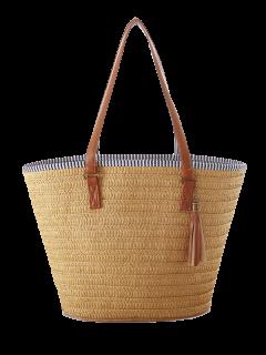 Tassels Weaving Striped Shoulder Bag - Light Brown