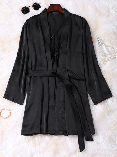 Lace Panel Satin Babydoll With Kimono - Black Xl